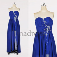 Custom Royal Blue Beaded Long Prom Dresses Bridesmaid Dresses 2014 Fashion Evening Dresses Party Dress Evening Gowns Homecoming Dresses