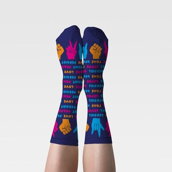 Love Peace Resist Women's Crew Socks in Hand Sign Design