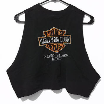 Vintage Harley Davidson Embriodered Puerto Vallarta Mexico Tank Crop Top
