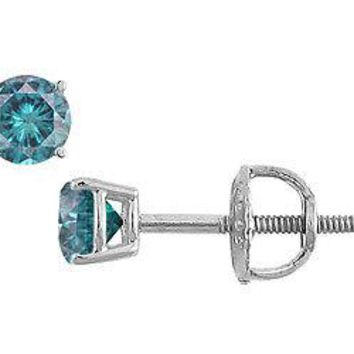 Blue Diamond Stud Earrings : 14K White Gold - 0.25 CT Diamonds