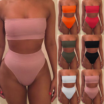 bikini high waist swimsuit strapless bathing suit