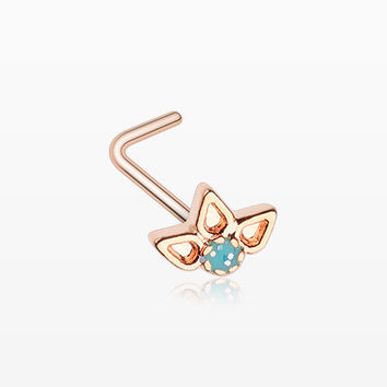 Rose Gold Lotus Ornate Sparkle L-Shaped Nose Ring