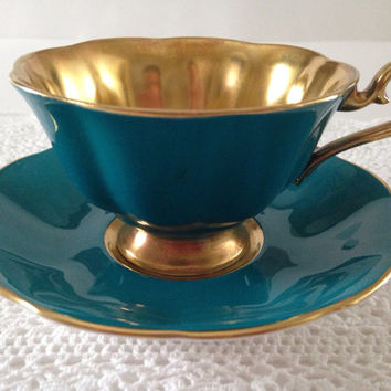 Very Rare Teal And Gold Royal Albert China Tea Cup & Saucer
