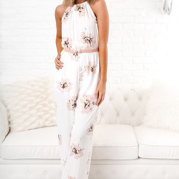 Whatever It Takes Floral Jumpsuit (Ivory)
