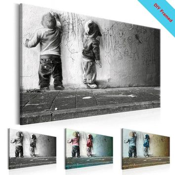 DIY Framed Canvas Painting Boys Scrawl Wall Art Sparring Canvas Prints Banksy Graffiti Canvas Wall Art for Wall Decor Abstract