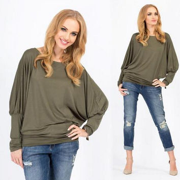 3-color Cotton Batwing Sleeve Plus Size Tops [7322409409]