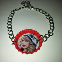 Taylor Swift red bottle cap bracelet with charm