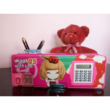 Two-side Magnetic Pencil Box with Calculator Stationery Case   W00L25