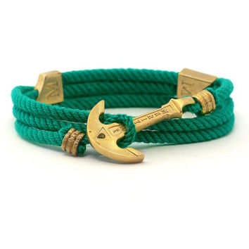 Anchor Bracelet / Mens Bracelet / Green Bracelet MARITIME Collection / Women Wrap Bracelet / Sea Bracelet / Rope Bracelet / Adjustable Size