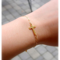 SALE Gold Sideways cross bracelet  moms sisters best by sammi84