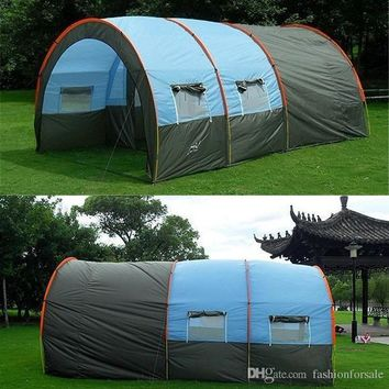 Outdoor 5-6-8-10 Persons Family Large Tents 1 Hall 2 Room Waterproof Tunnel Tent