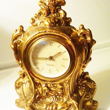 Antique Mercedes Brass Mantle Clock, West Germany, Regency Style, Ornate Design, Gold Cherubs, Decorative Clock, Antique Brass Clock, WORKS!