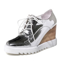 Sliver Metallic Patent Leather Women Oxfords Wedge Shoes Woman Spring Creepers Casual High Heels Shoes For Ladies US 10