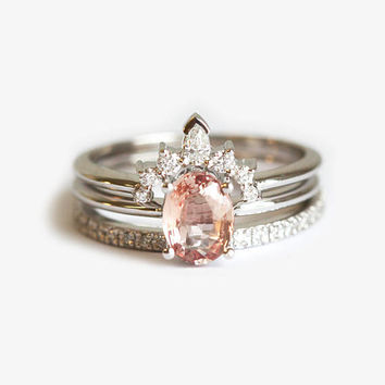 Peach Sapphire Ring Set, Three Ring Set, Oval Sapphire Ring, Diamond Crown Ring, Eternity Diamond Band, Diamond Wedding Ring Set, MinimalVS