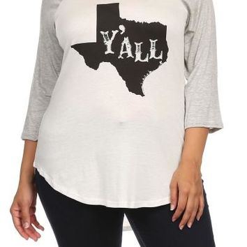 "Plus Size ""Y'All"" Graphic Hi-Lo Tee - Gray/White"