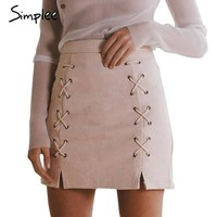 Simplee Suede Leather Skirts