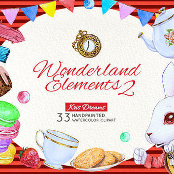 "Alice in Wonderland Clipart: ""Watercolor Alice in Wonderland Clipart"" White Rabbit Teacup Teapot TeaParty Clipart Invitation Baby Shower DIY"