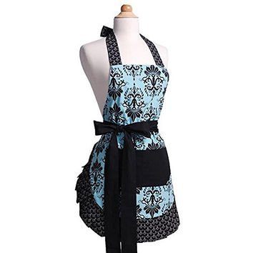 Women's Aqua Damask Original Flirty Apron