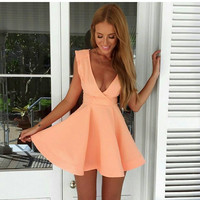 2016 New fashion women sexy v-neck mini dress Pink Sleeveless party dresses peplum dress