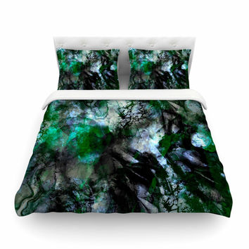 "Shirlei Patricia Muniz ""Camouflage"" Black Green Featherweight Duvet Cover"