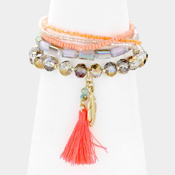 5 PCS Pink Multi-Color tassel & gold feather charm beaded stack stretch bracelets