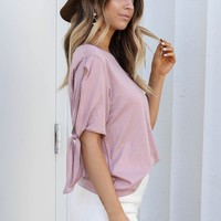 Testing Fate Dusty Pink Knot Sleeve Top