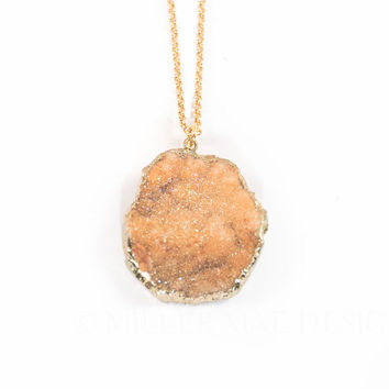 Druzy Necklace | Druzy Pendant | Crystal Necklace | Natural Necklace | Minimalist Necklace | Geode Necklace | Bohemian Jewelry