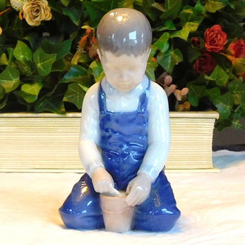 Vintage Porcelain Figurine Little Boy with Bucket of Sand Bing Grondahl B&G