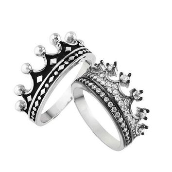 King & Queen ring, crown ring set,gold crown promise rings