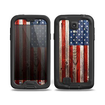 The Wooden Grungy American Flag Skin for the Samsung Galaxy S4 frē LifeProof Case
