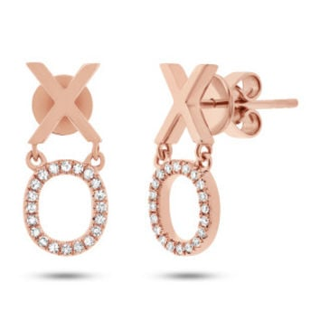 "0.11ct 14k Rose Gold Diamond ""XO"" Earring"