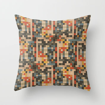 red, blue, and gold blocks Throw Pillow by MonicaKay
