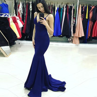 Backless Royal Blue Mermaid Formal Gown,V Neck Prom Dress With Spaghetti Straps