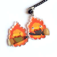 Calcifer Charm - Reversible + Double-Sided Ghibli Fire Acrylic Keychain