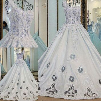Ball Gown Beading Lace Up Back Ivory and Blue Satin Rhinestones One Shoulder Wedding Ball Gowns