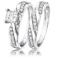 7/8 Carat T.W. Princess Cut Diamond Solitaire Womens Bridal Ring Set 14K White Gold