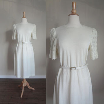 1970s Leslie Fay Petites White Knit Dress with Crochet Sleeves // Medium Large