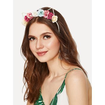Flower Decorated Headband With Cat Ear