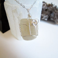 Wire Wrapped Moonstone Gemstone Pendant Necklace, crystal healing jewelry, vegan