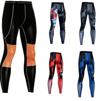 Wade Sea Men Running Tights Pro Compress Yoga Pants GYM Exercise Fitness Leggings Workout Basketball Exercise Sports Clothing