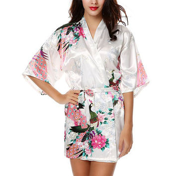 Women's Short Style Peacock Kimono Robe-5 Colors