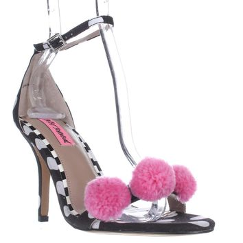 Blue by Betsey Johnson Lylly Puff Ankle Strap Sandals, Black Polka Dot, 9.5 US