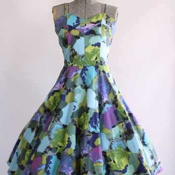 BIRTHDAY SALE... Vintage 1950s Dress / 50s Cotton Dress / The Hawaiian Shop Bright Watercolor Print Dress w/ Open Back S