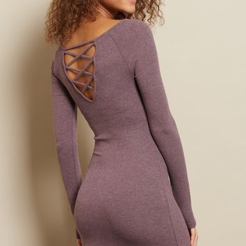 Lace Up Back Bodycon Dress