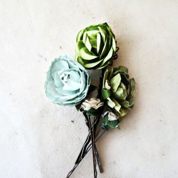 Olive and Mint Green Paper Flower Bobby Pins Set of 5.