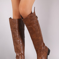 Breckelle Buckle Round Toe Riding Boots