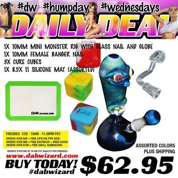 DAILY DEAL 07/22/2015 - 1x 10mm Mini Monster Rig with Glass Nail and Globe + 1x 10mm Female Banger Nail + 3x Cure Cubes + 1x 8.5x 11 Silicone Mat (Assorted Color)