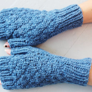 Handknit Fingerless Gloves, Blue Wool Mittens, Blue Wool Gloves, Texting Gloves, Wrist Warmers, Ready to Ship