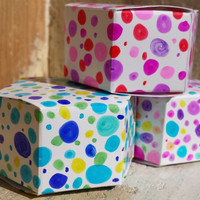 FREE SHIPPING - Polka Dot Gift Boxes - Hand Decorated - Set of 3 - Party Favor Boxes