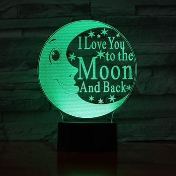"""3D LED Night Lamp """"I Love You To The Moon And Back"""""""
